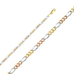 14K Tri Color 3.7mm Figaro 3+1 Concave bracelet-7""
